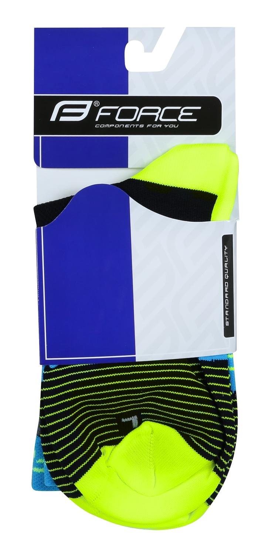 ponožky F TRIANGLE, černo-fluo-modré L-XL/42-47