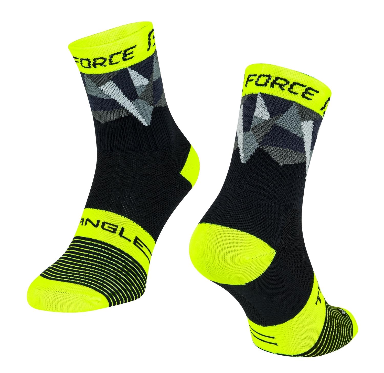 ponožky FORCE TRIANGLE, černo-fluo-šedé L-XL/42-47