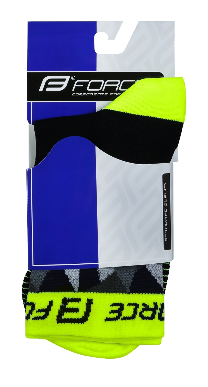 ponožky F TRIANGLE, černo-fluo-šedé XS/30-35