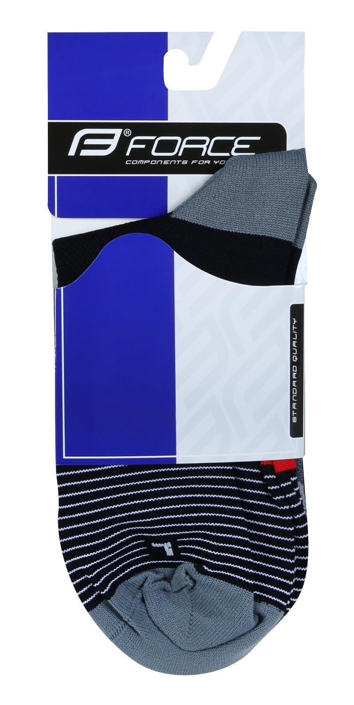 ponožky F TRIANGLE, černo-šedo-červené S-M/36-41