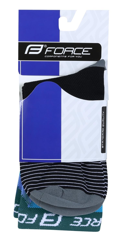 ponožky F TRIANGLE, černo-tyrkysové L-XL/42-47