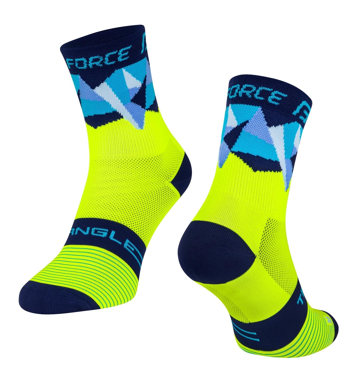 ponožky FORCE TRIANGLE, fluo-modré S-M/36-41