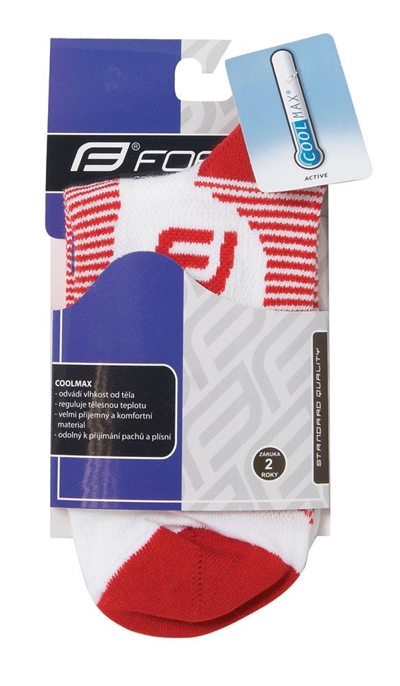 ponožky FORCE 1, bílo-červené L-XL/42-47