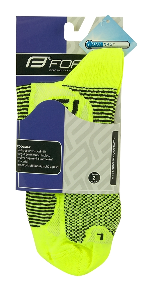 ponožky FORCE 1, fluo-černé XXL/48-49