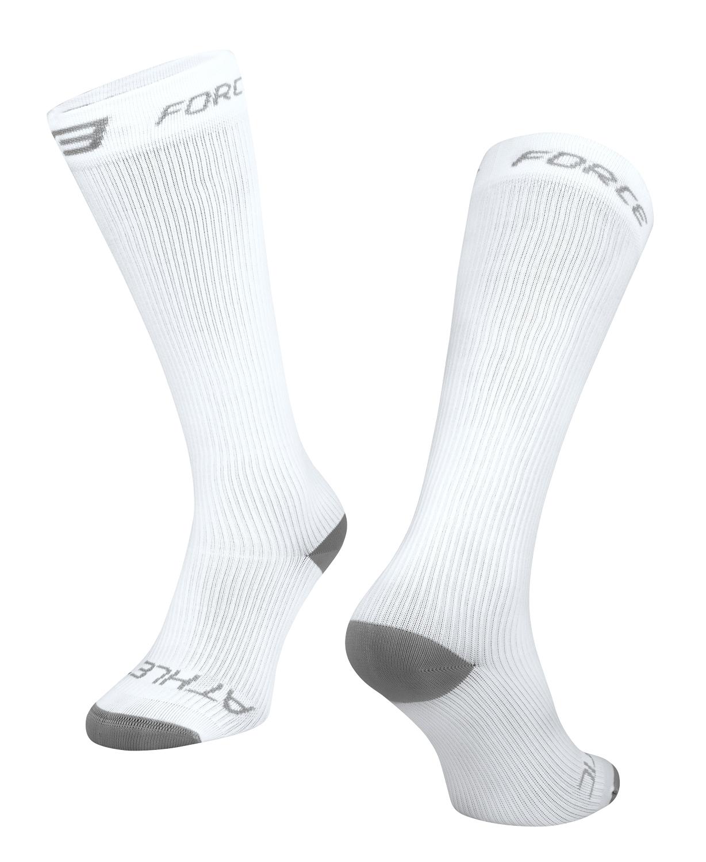 ponožky FORCE ATHLETIC KOMPRESNÍ, bílé L - XL