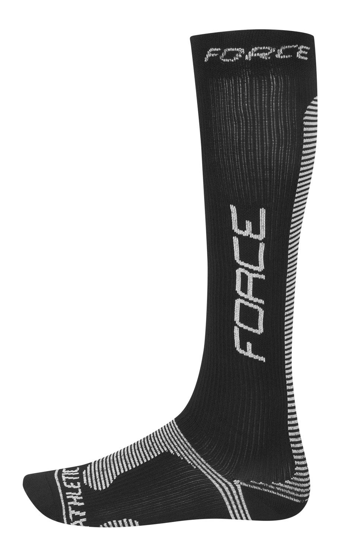 ponožky FORCE ATHLETIC PRO KOMPRES,černo-bílé L-XL doprodej!