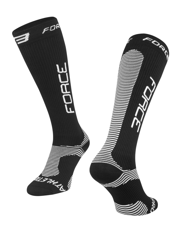 ponožky FORCE ATHLETIC PRO KOMPRES, černo-bílé S-M