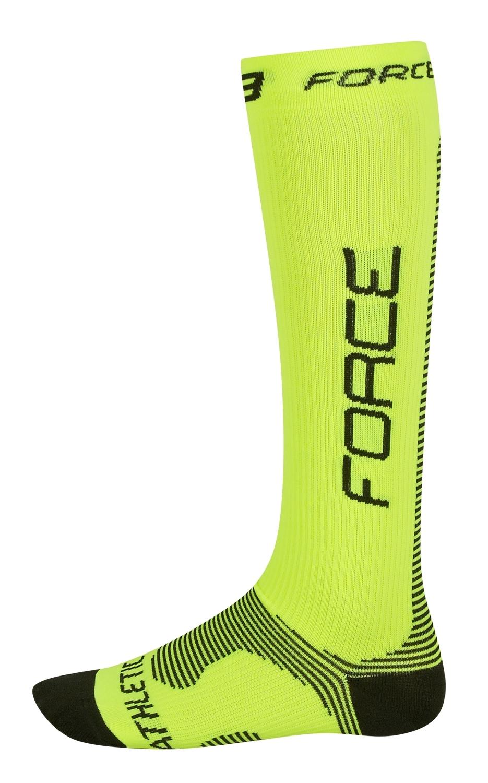 ponožky FORCE ATHLETIC PRO KOMPRES,fluo-černé L-XL