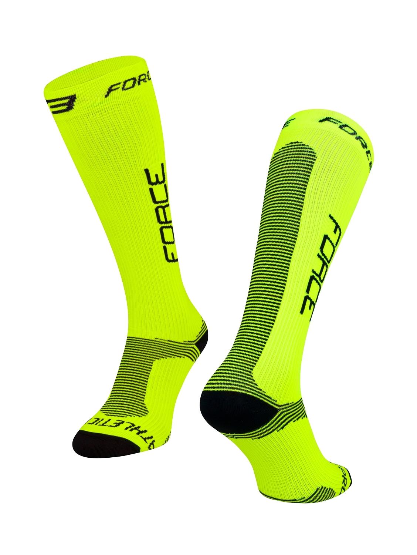 ponožky FORCE ATHLETIC PRO KOMPRES, fluo-černé S-M