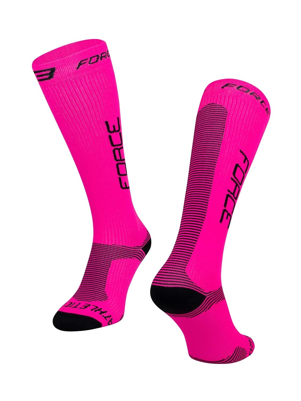 ponožky FORCE ATHLETIC PRO KOMPRES,růž.-černé L-XL