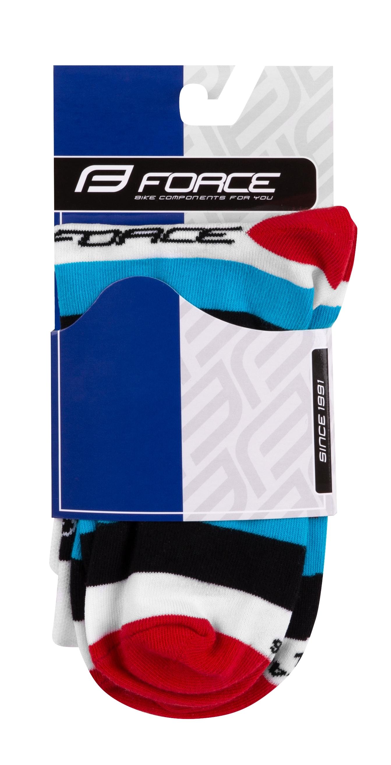 ponožky FORCE CYCLE, bílé S-M/36-41
