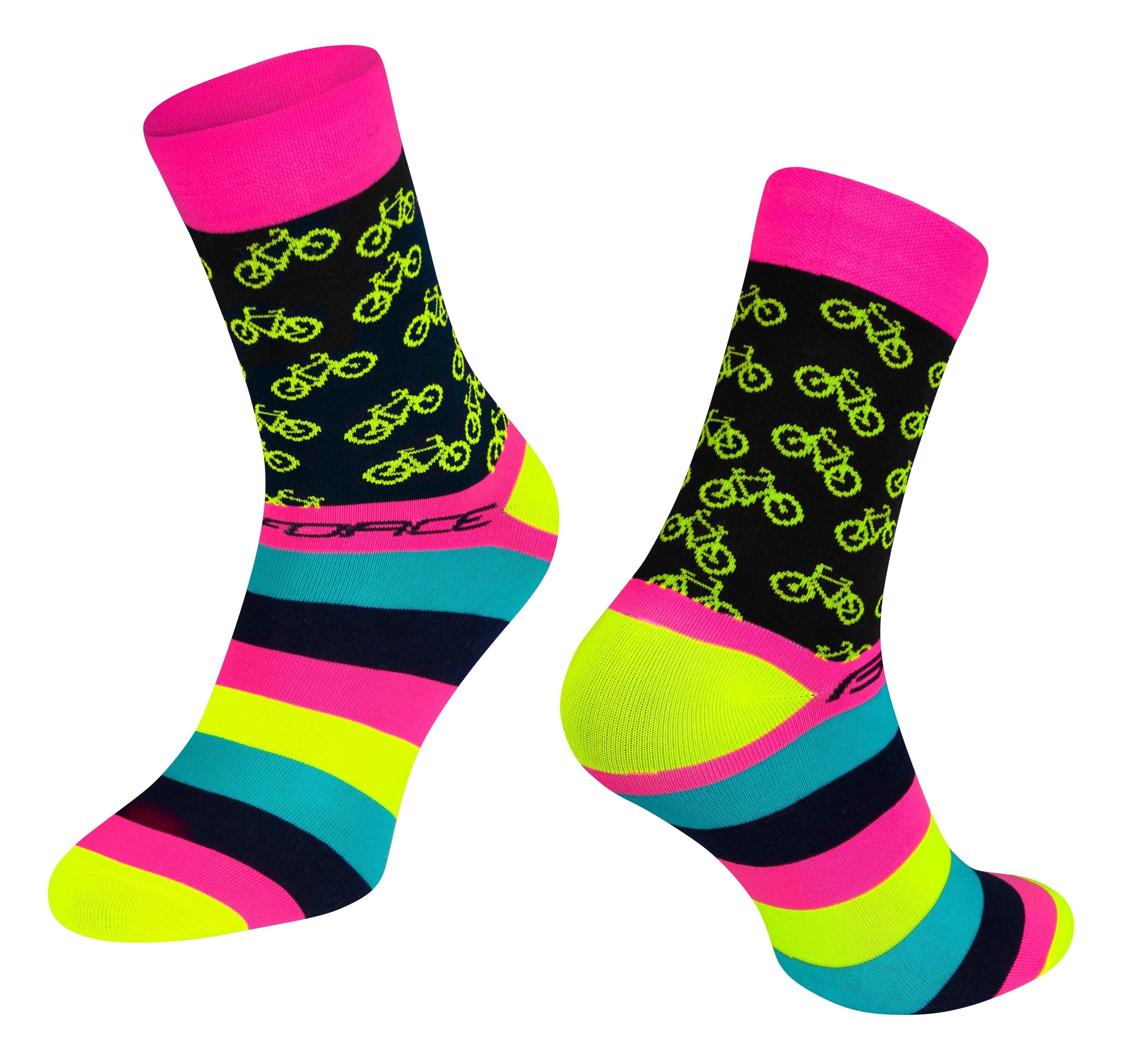 ponožky FORCE CYCLE, růžové L-XL/42-46