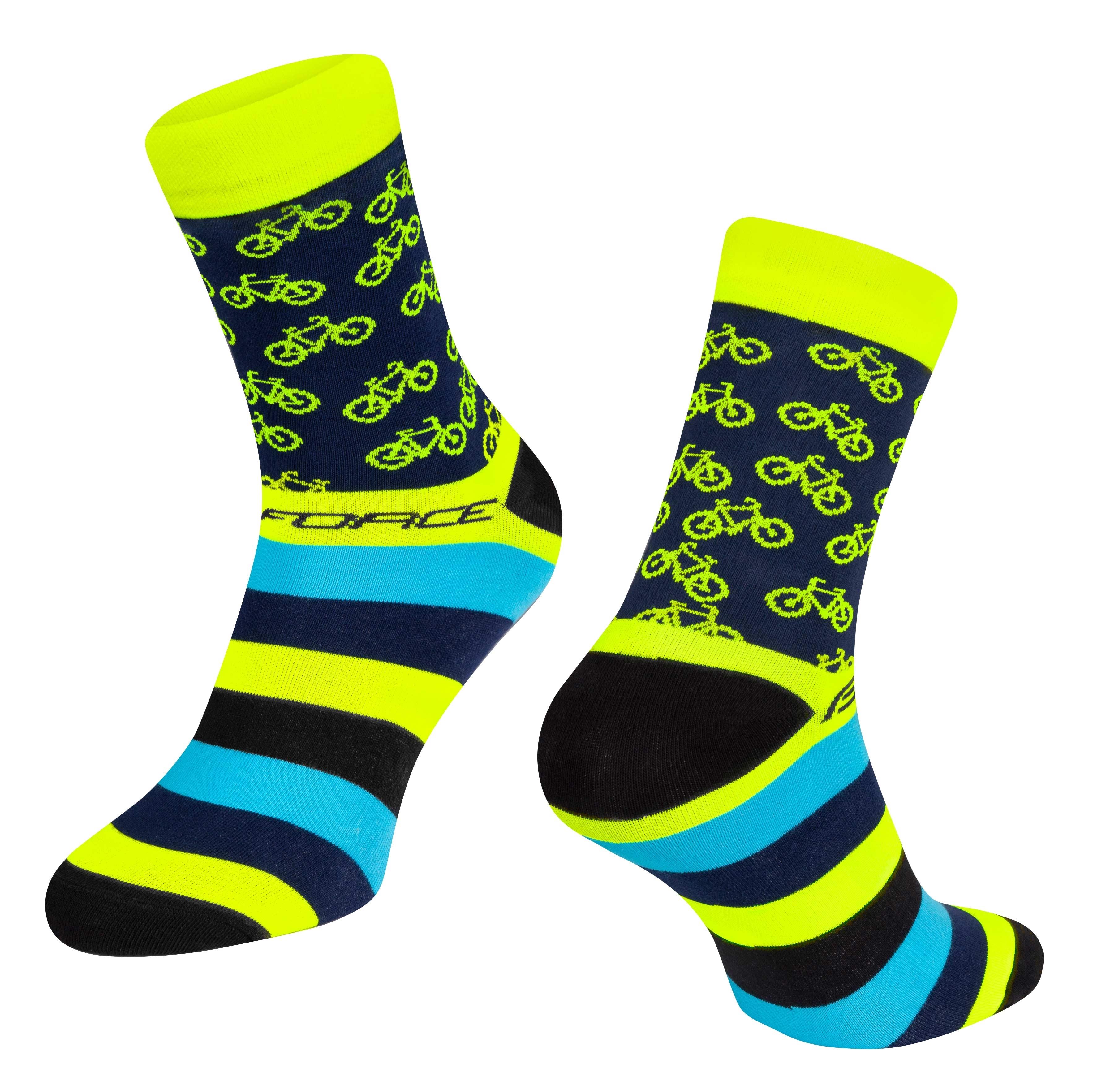 ponožky FORCE CYCLE, žluté S-M/36-41