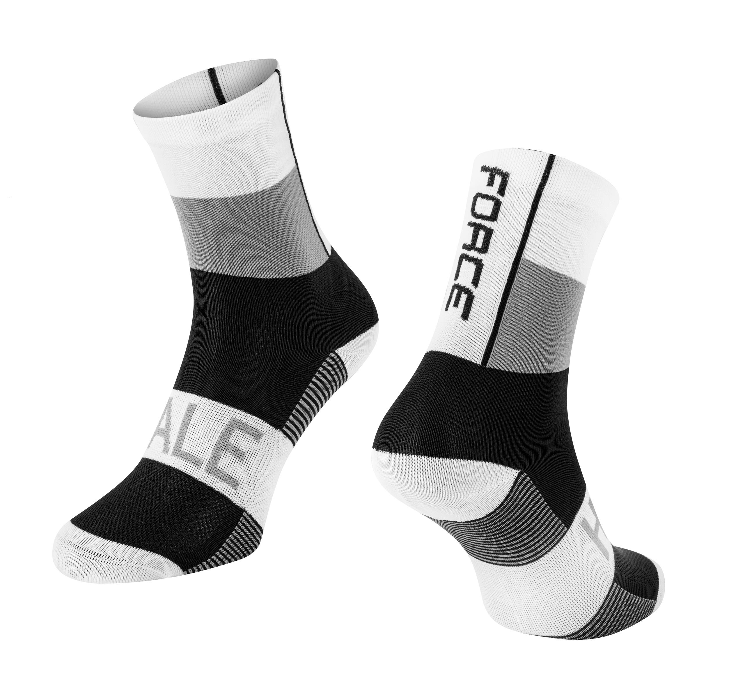 ponožky FORCE HALE, bílo-šedo-černé S-M/36-41