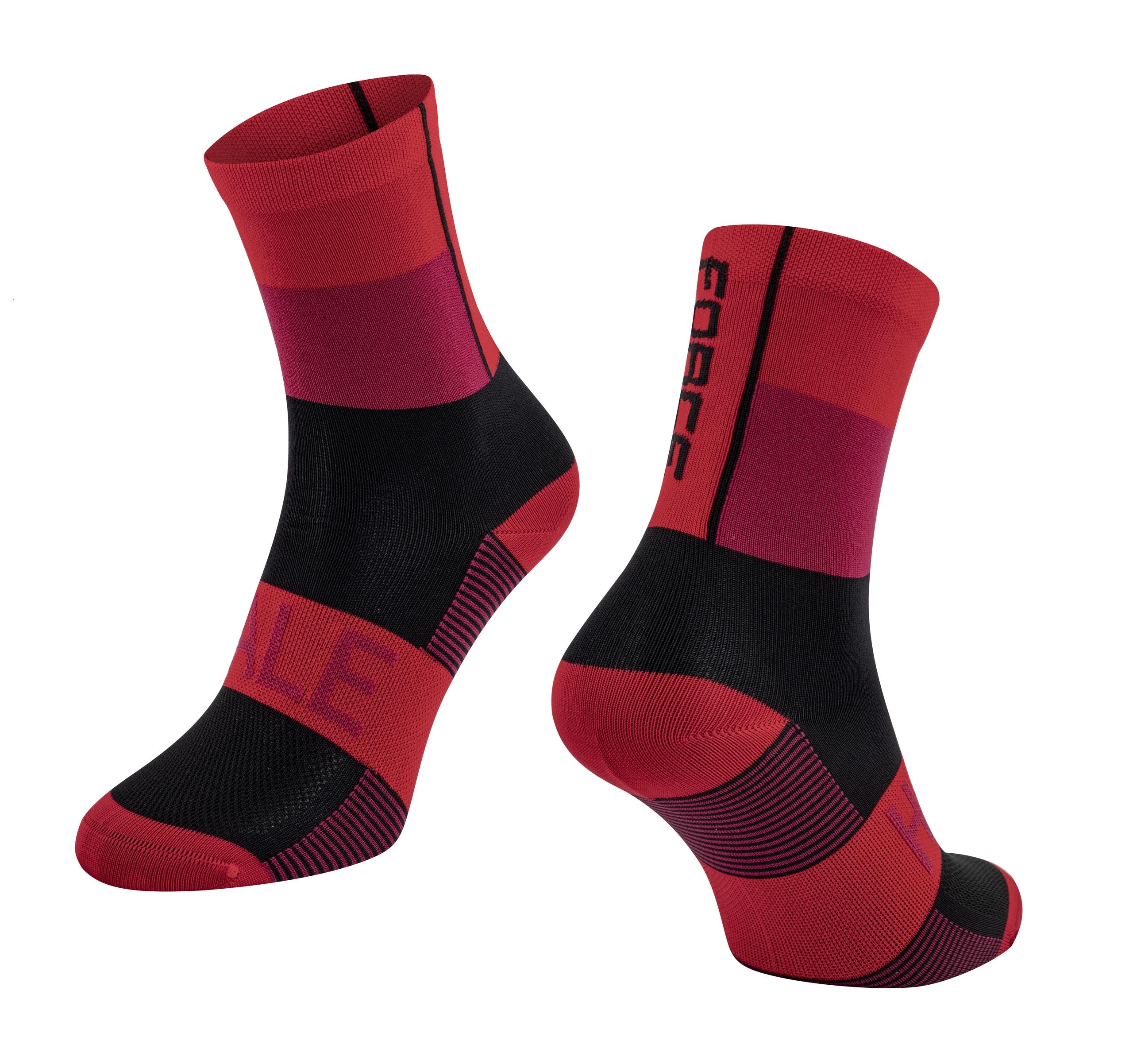 ponožky FORCE HALE, červeno-černé L-XL/42-47