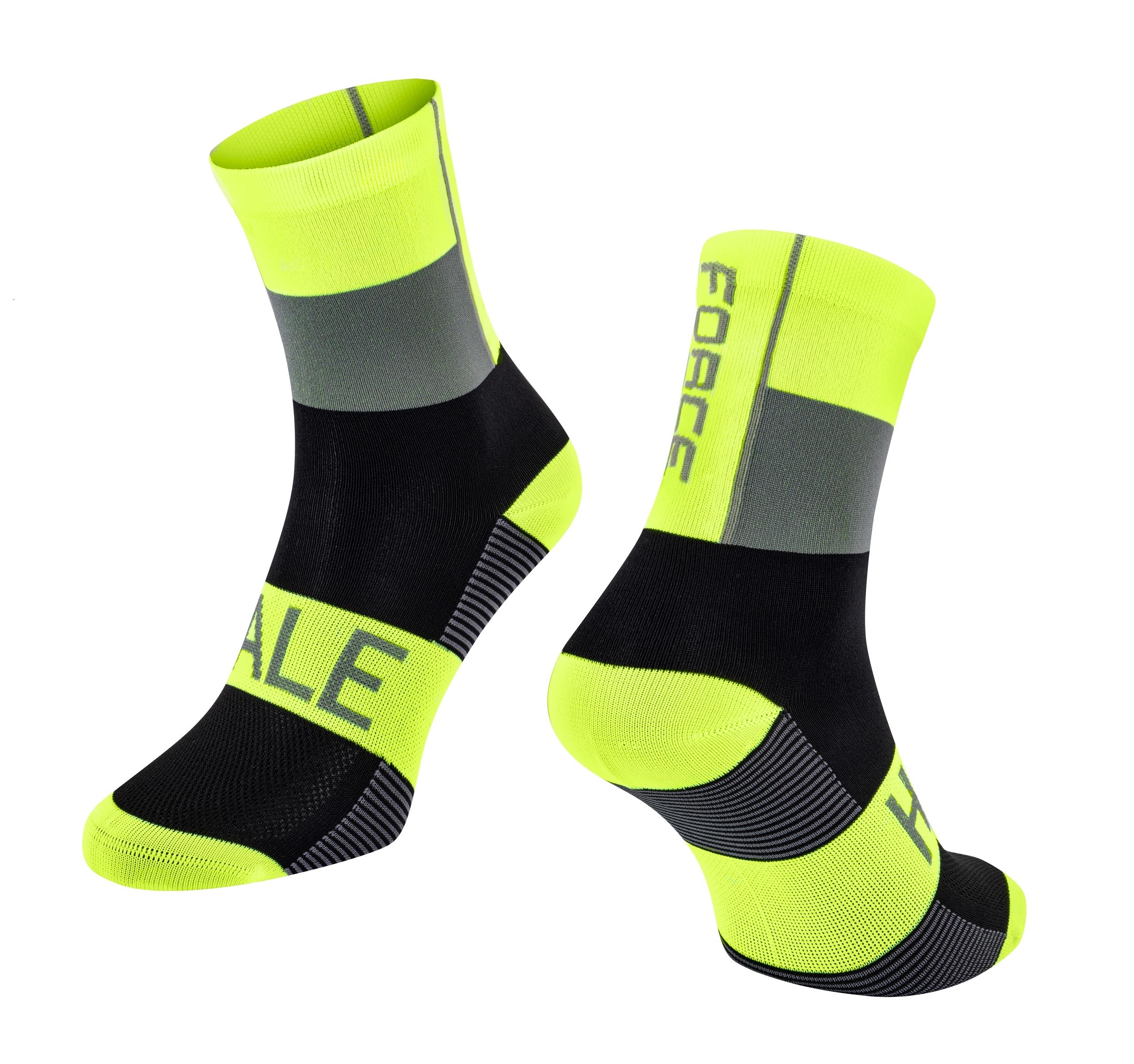 ponožky FORCE HALE, fluo-černo-šedé L-XL/42-47