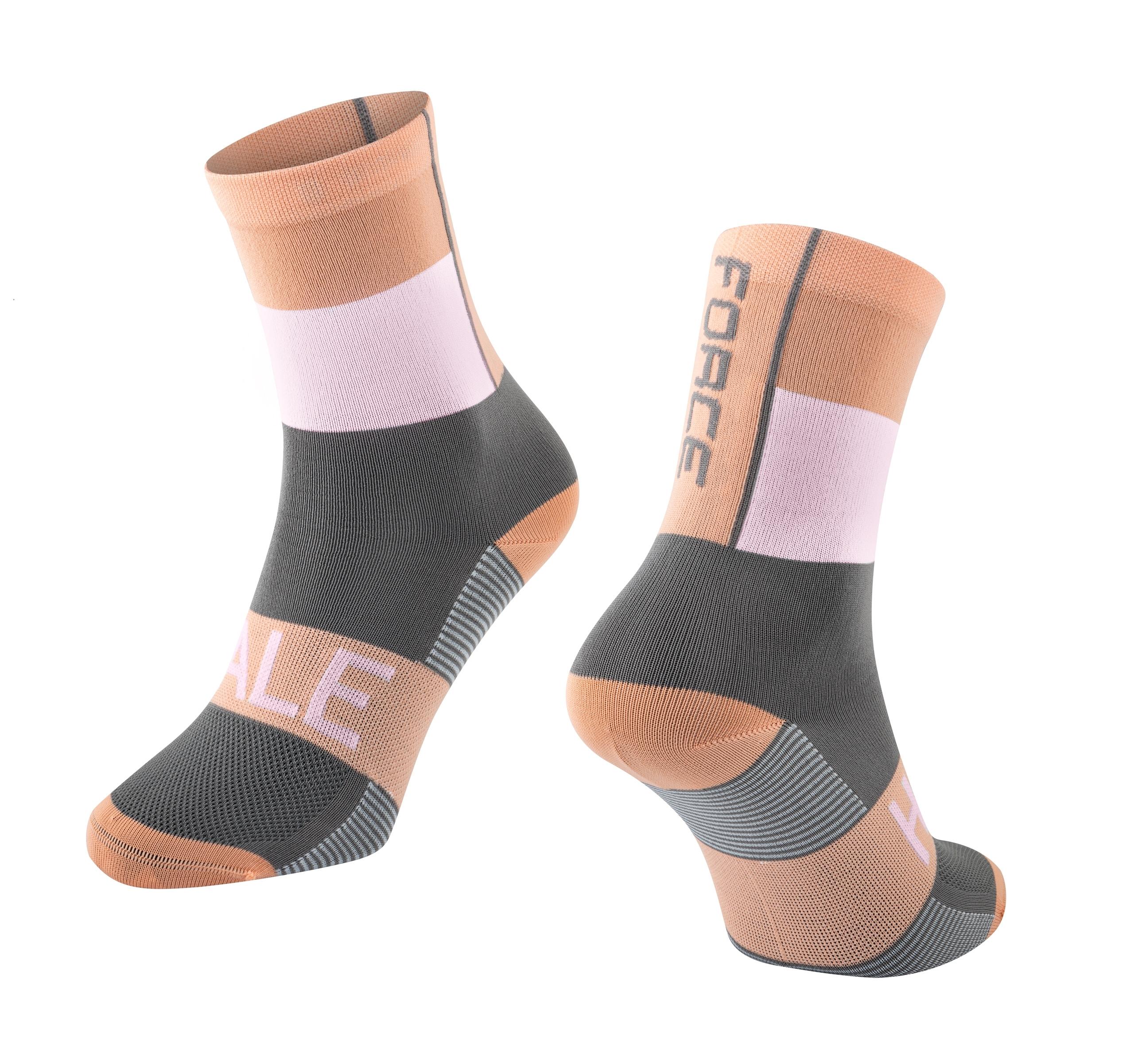 ponožky FORCE HALE, oranžovo-bílo-šedé S-M/36-41