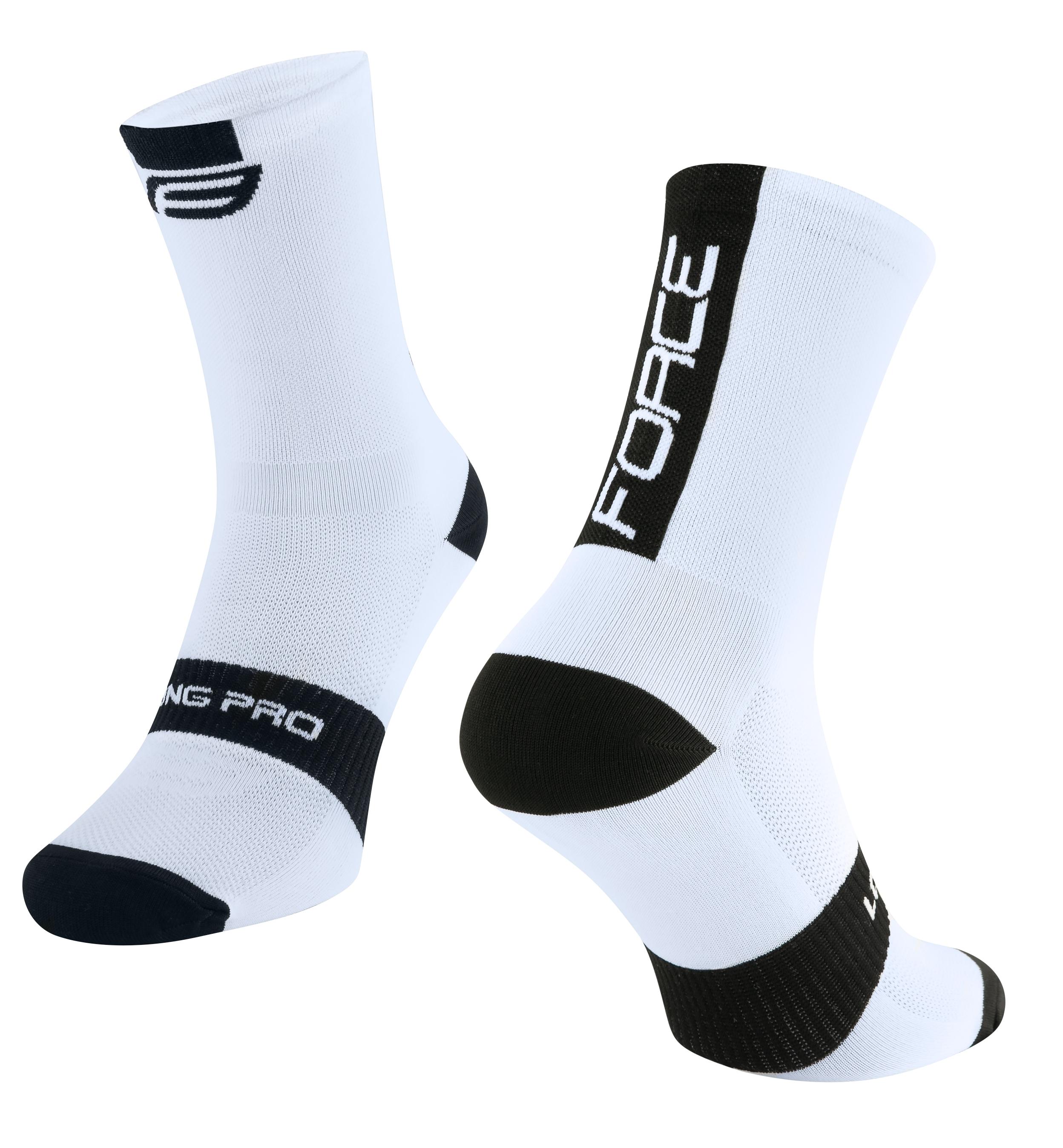 ponožky FORCE LONG PRO, bílo-černé L-XL/42-46