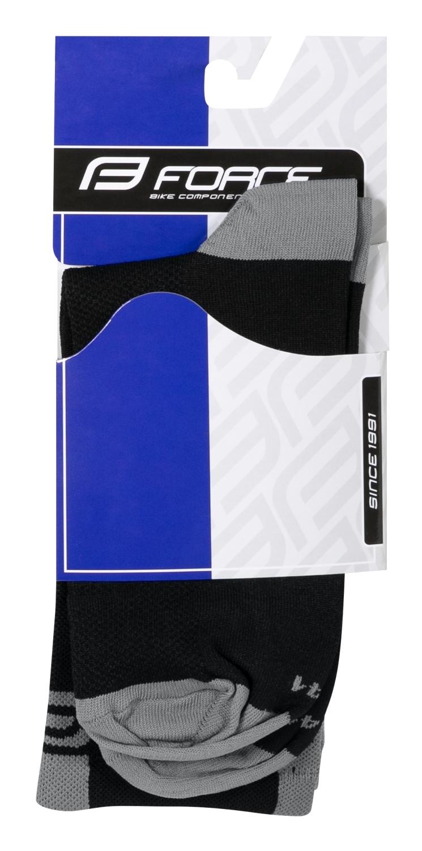 ponožky FORCE LONG PRO, černo-šedé S-M/36-41