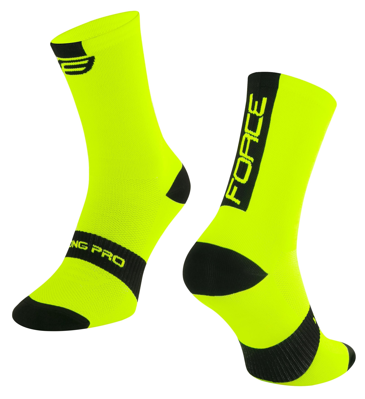 ponožky FORCE LONG PRO, fluo-černé S-M/36-41