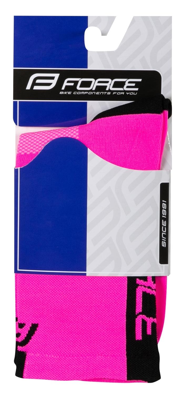 ponožky FORCE LONG PRO, růžovo-černé L-XL/42-46