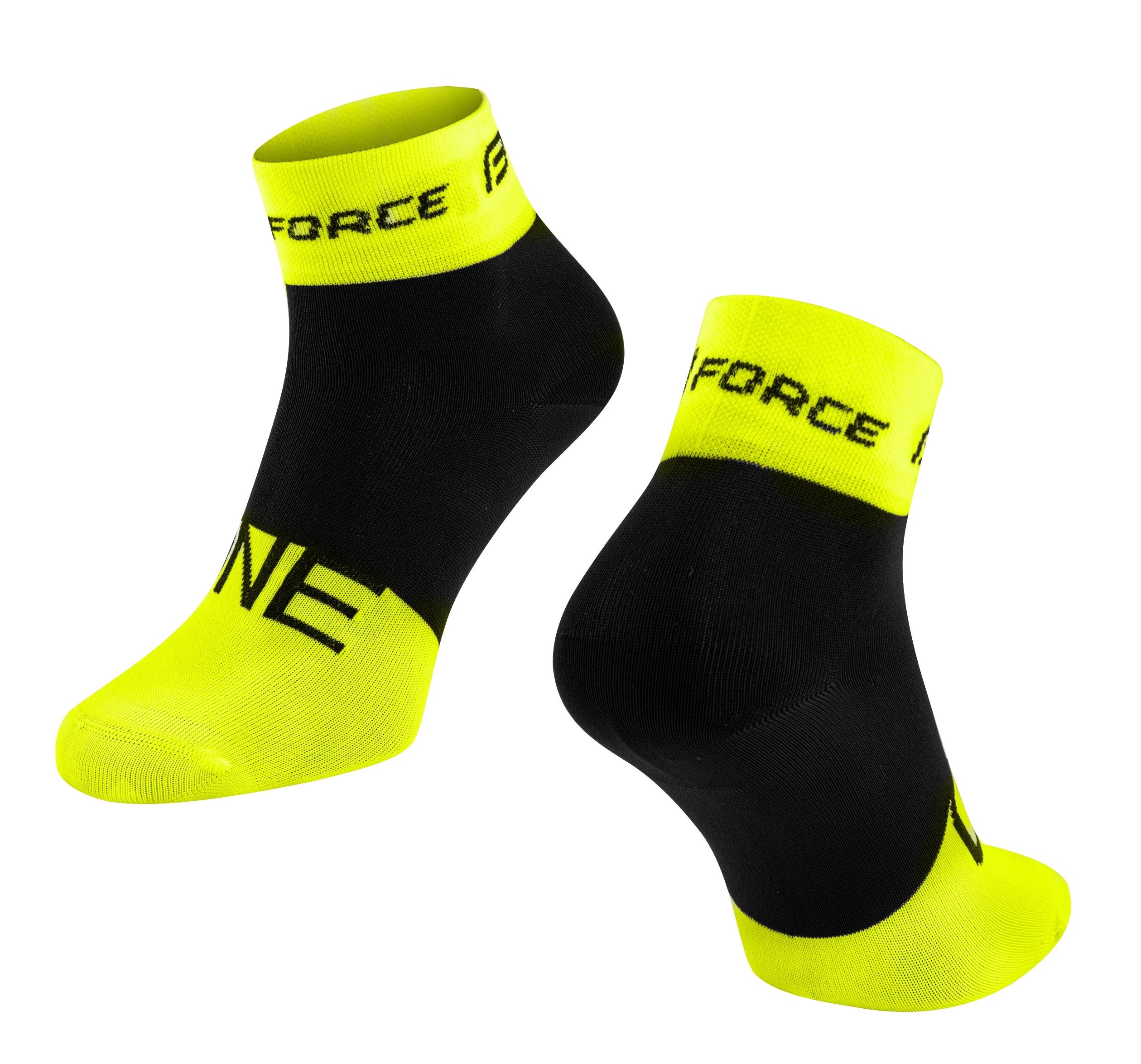 ponožky FORCE ONE, fluo-černé L-XL/42-47