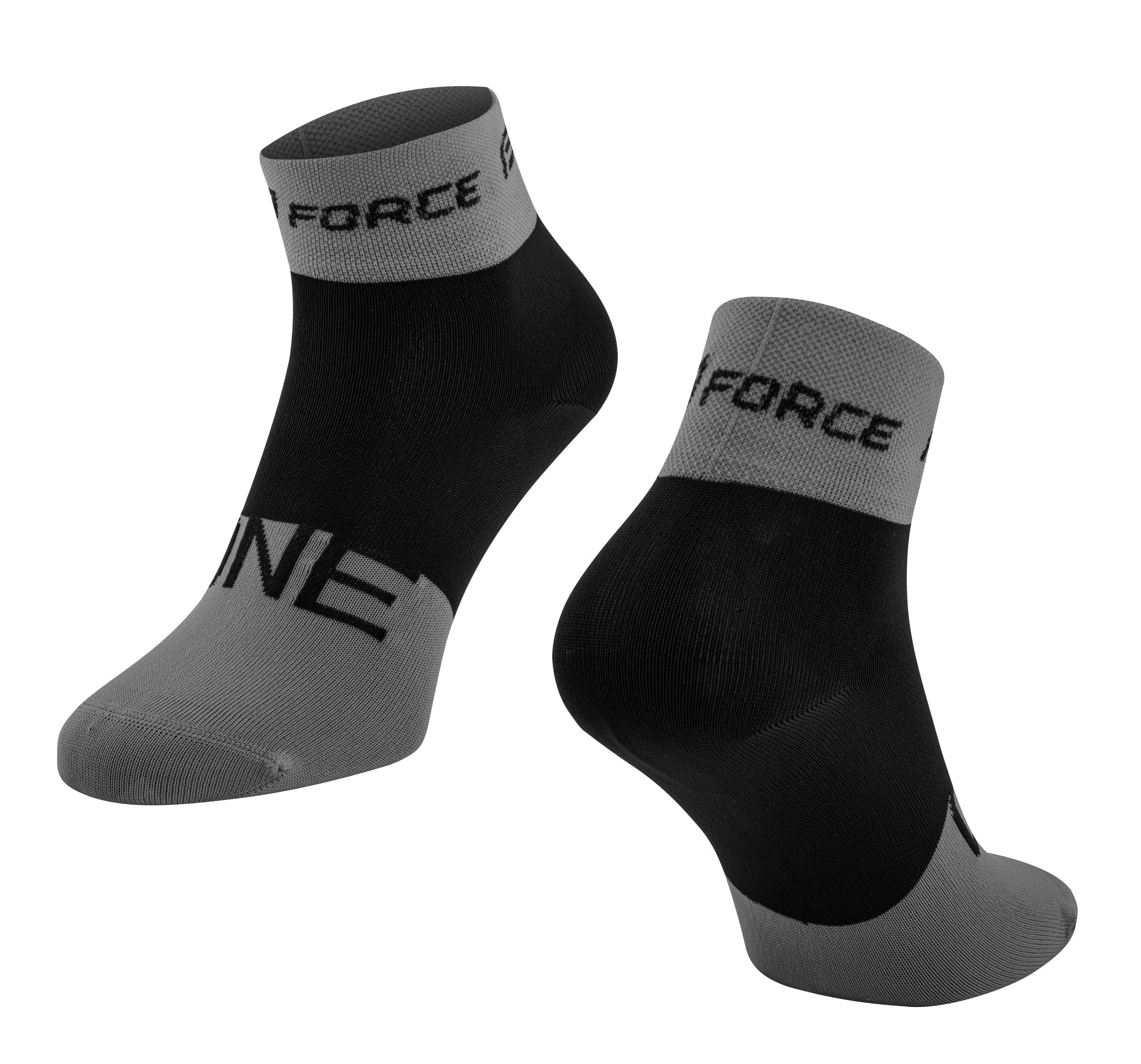 ponožky FORCE ONE, šedo-černé S-M/36-41