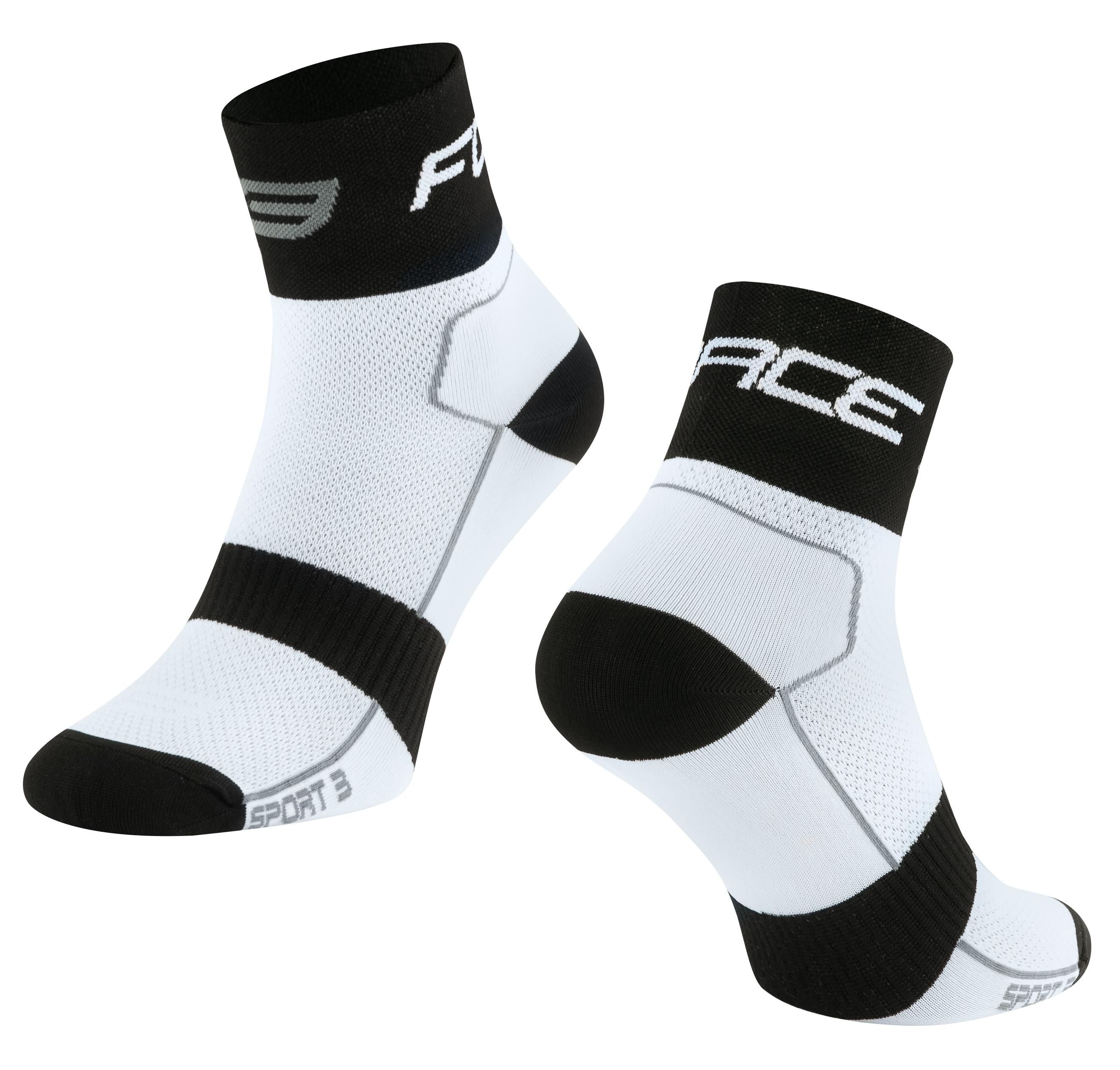 ponožky FORCE SPORT 3, bílo-černé L-XL/42-46