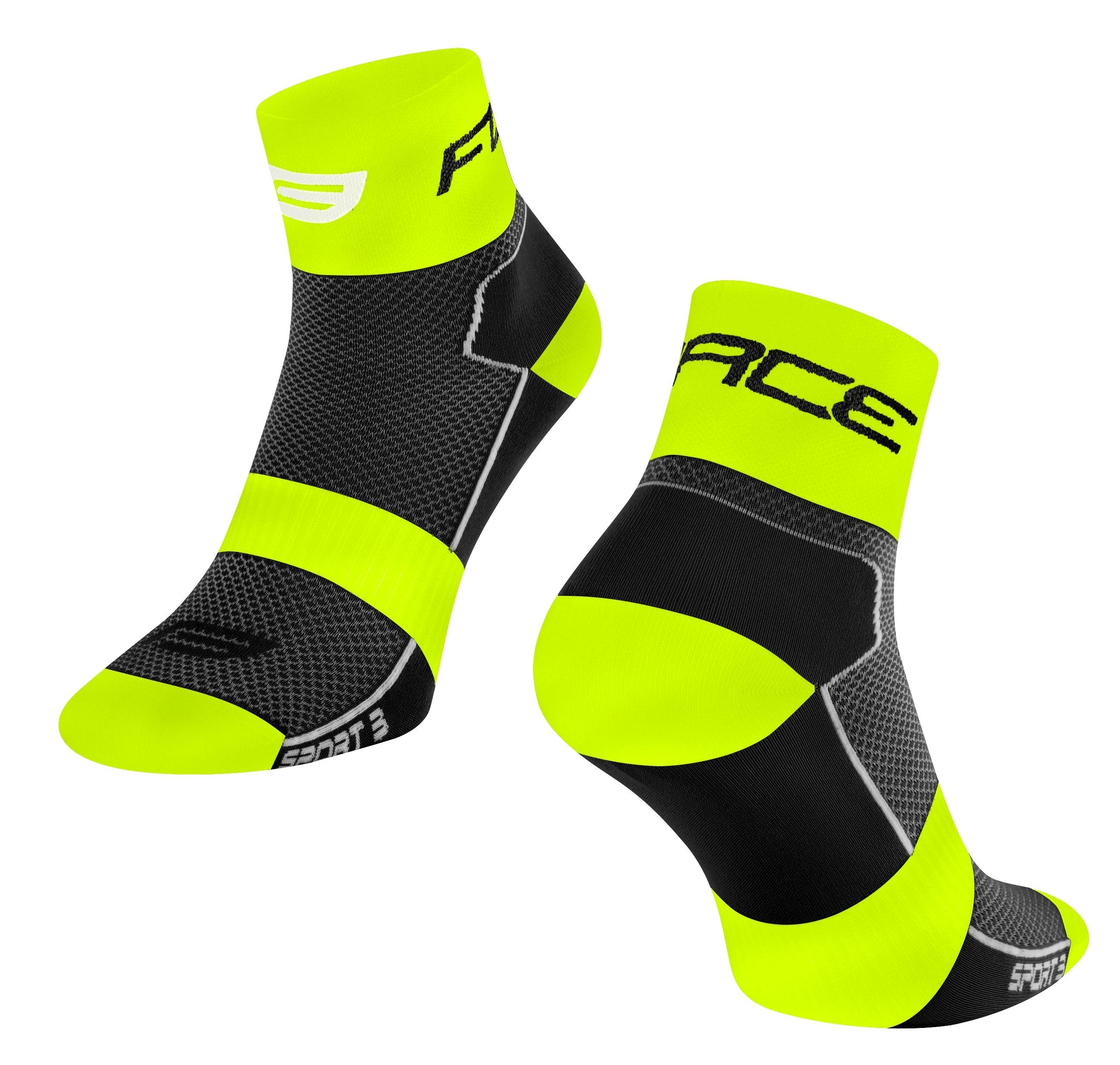 ponožky FORCE SPORT 3, černo-fluo L-XL/42-46