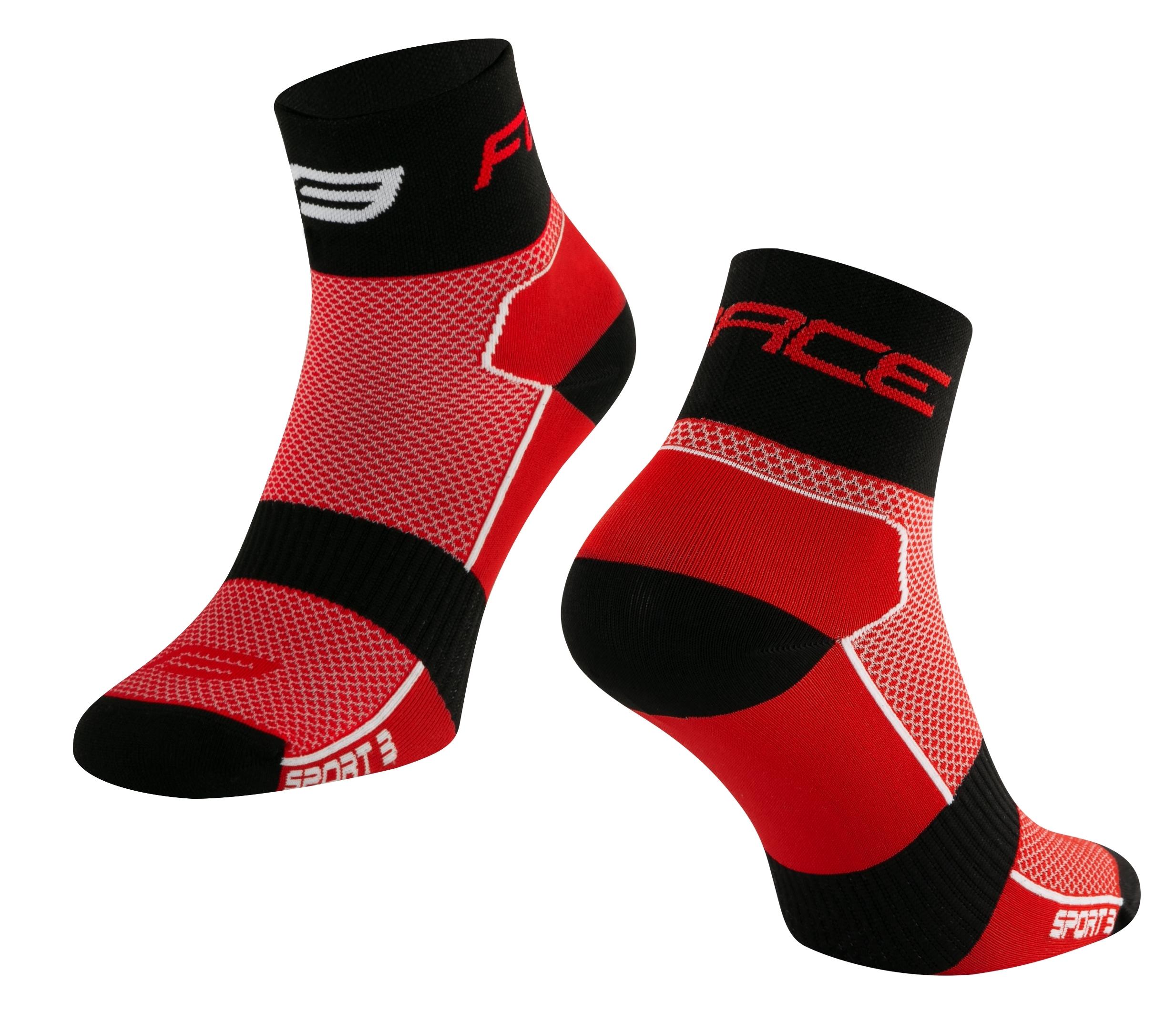 ponožky FORCE SPORT 3, červeno-černé L-XL/42-46