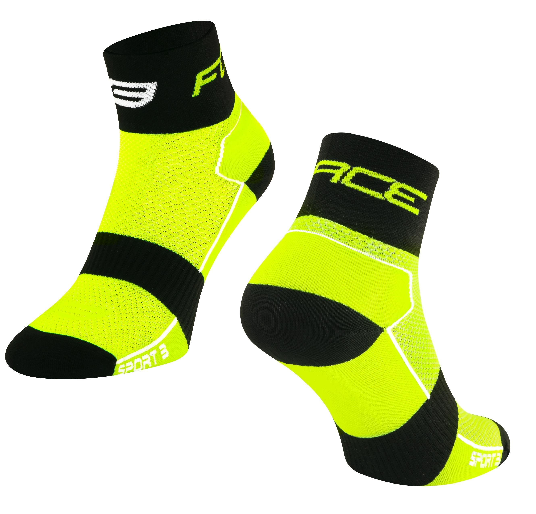 ponožky FORCE SPORT 3, fluo-černé L-XL/42-46