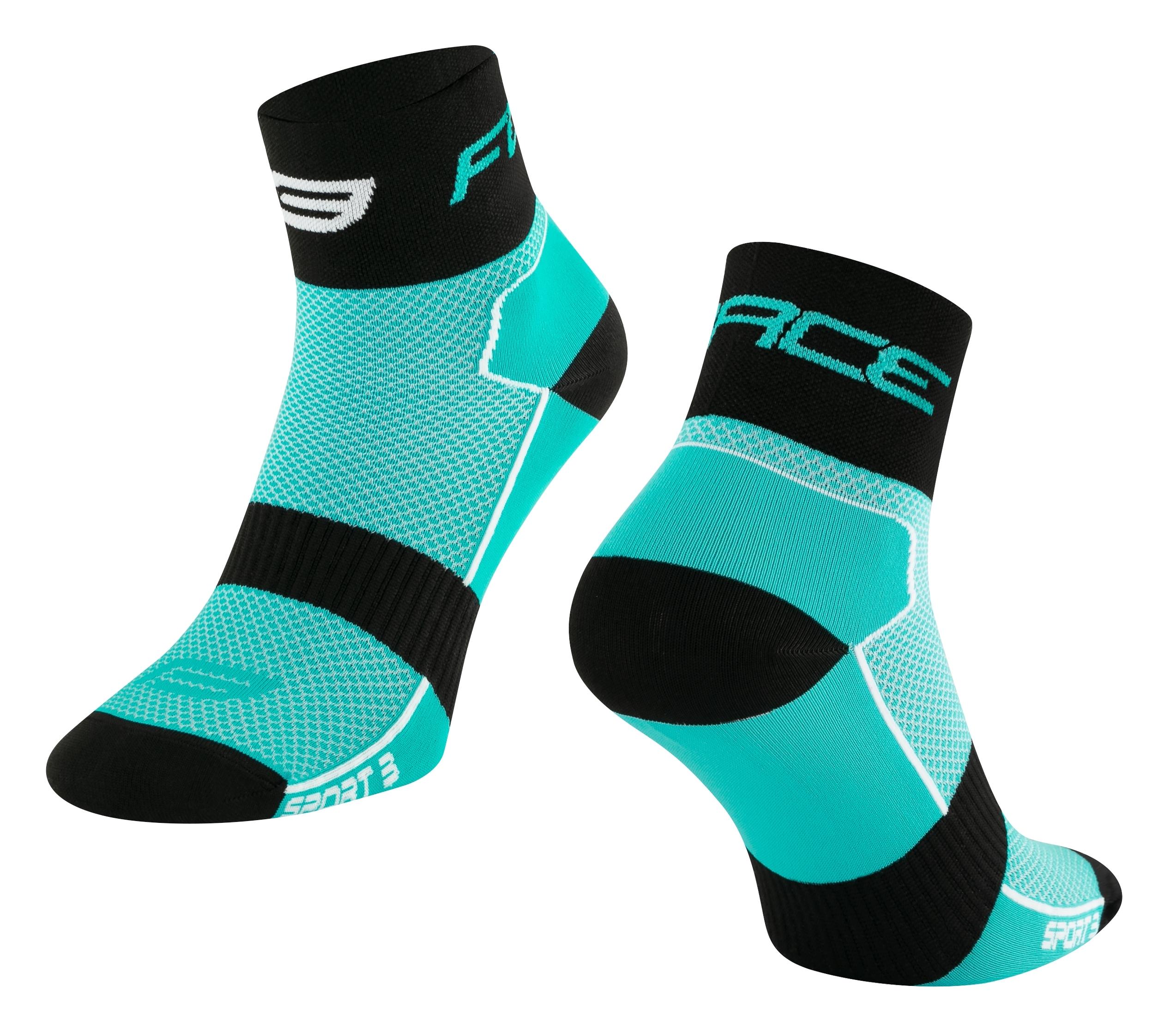 ponožky FORCE SPORT 3, tyrkysovo-černé L-XL/42-46