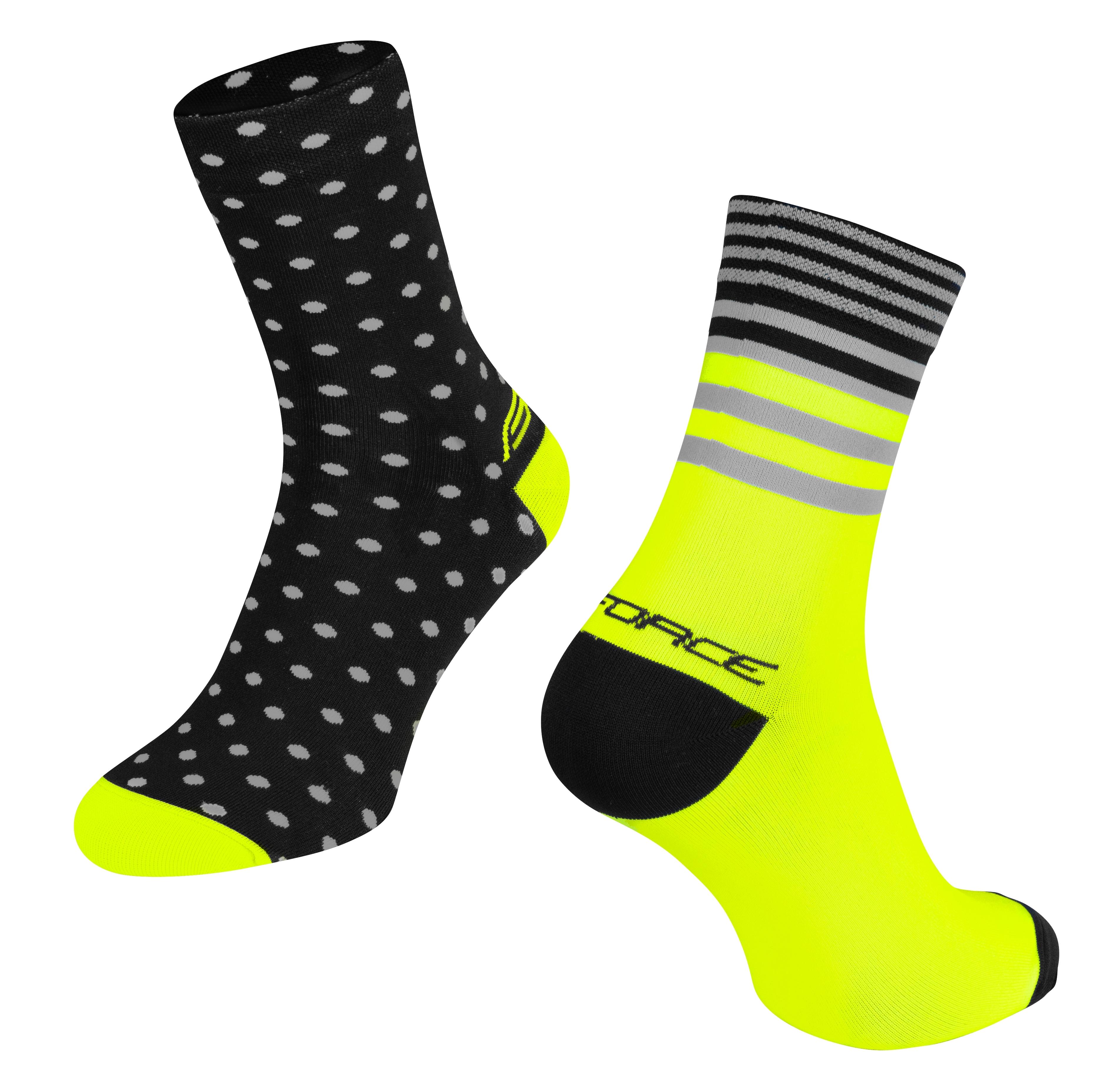 ponožky FORCE SPOT, černo-fluo S-M/36-41
