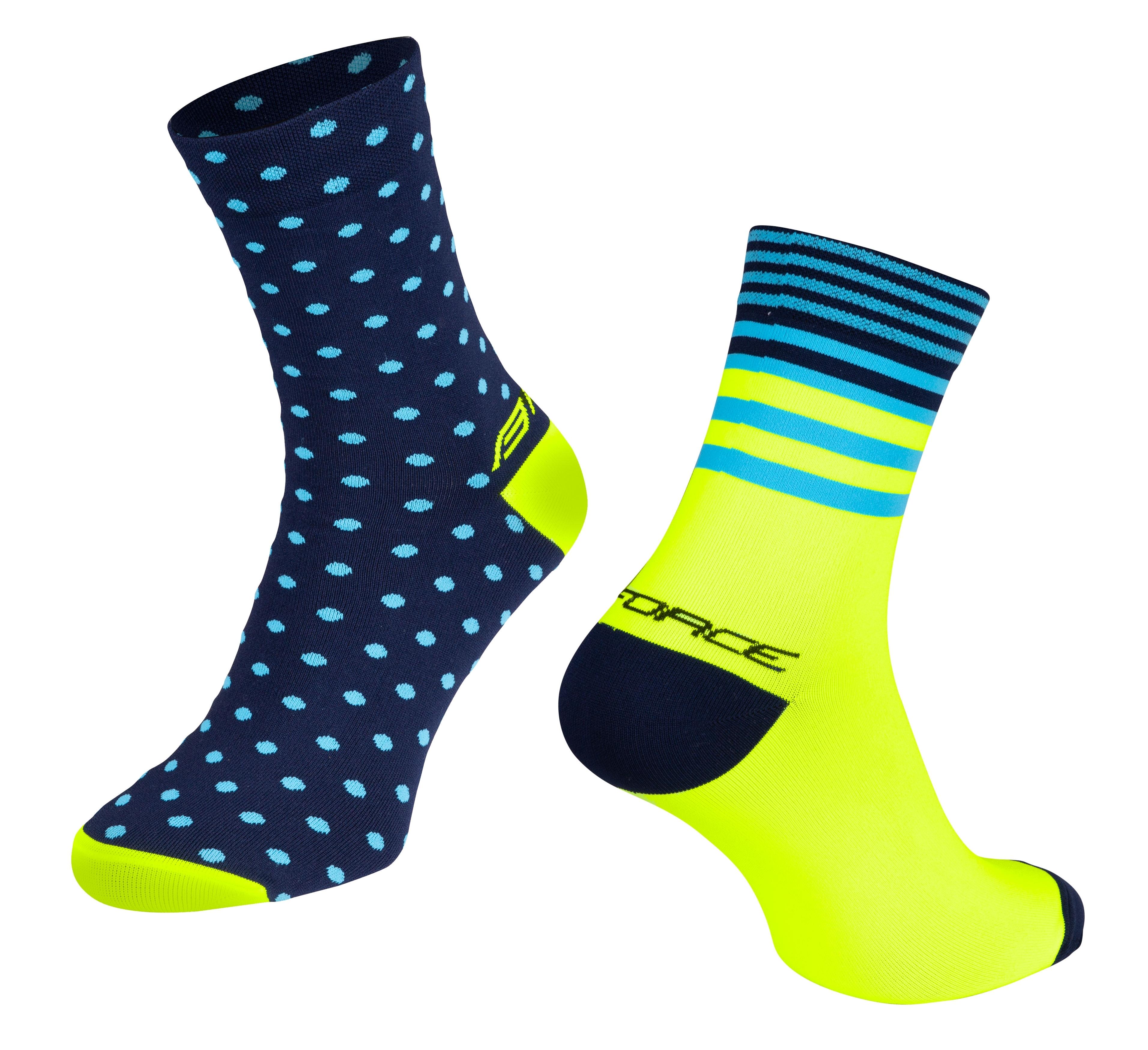 ponožky FORCE SPOT, modro-fluo L-XL/42-46