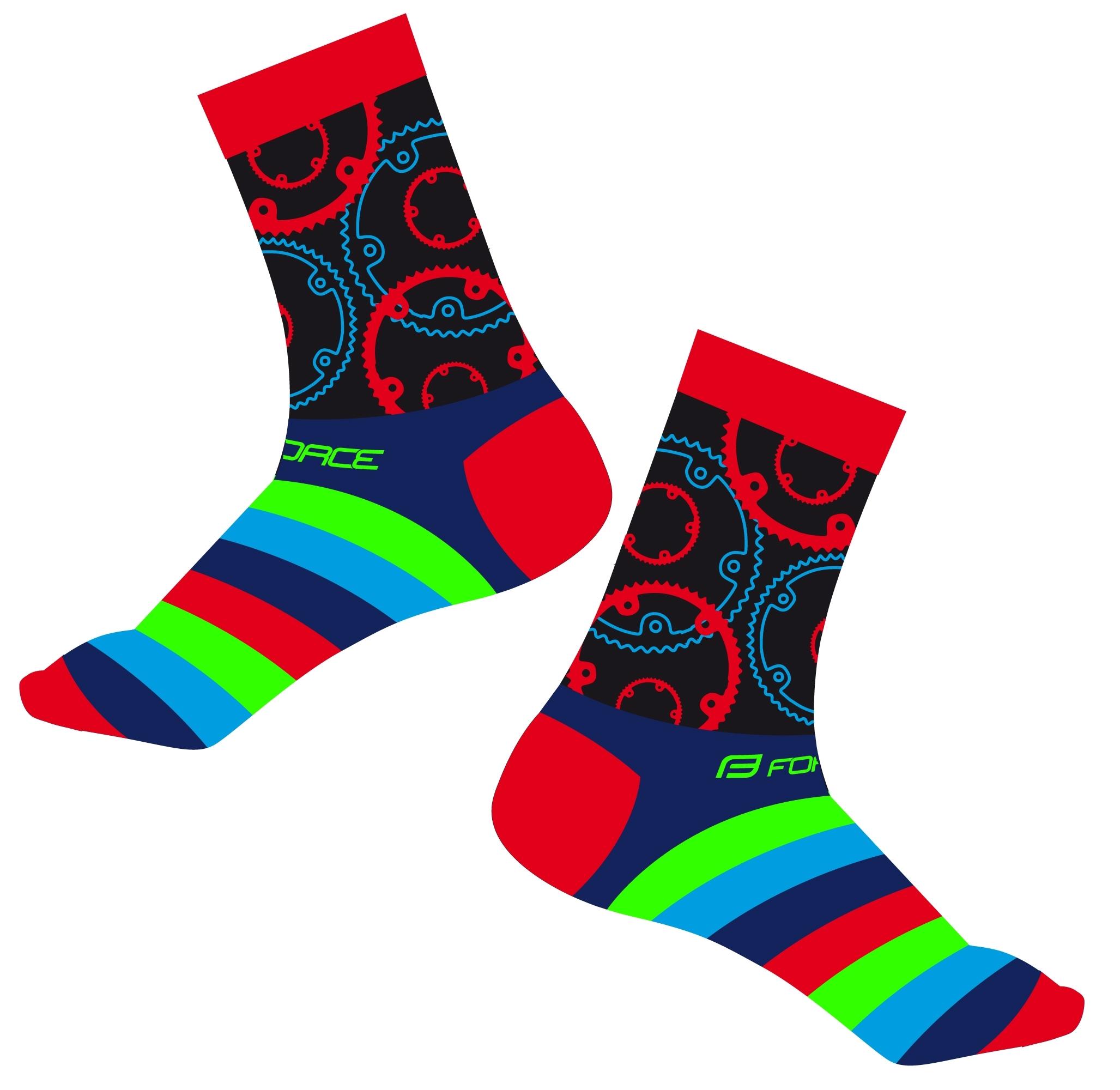 ponožky FORCE SPROCKET, červené L-XL/42-46