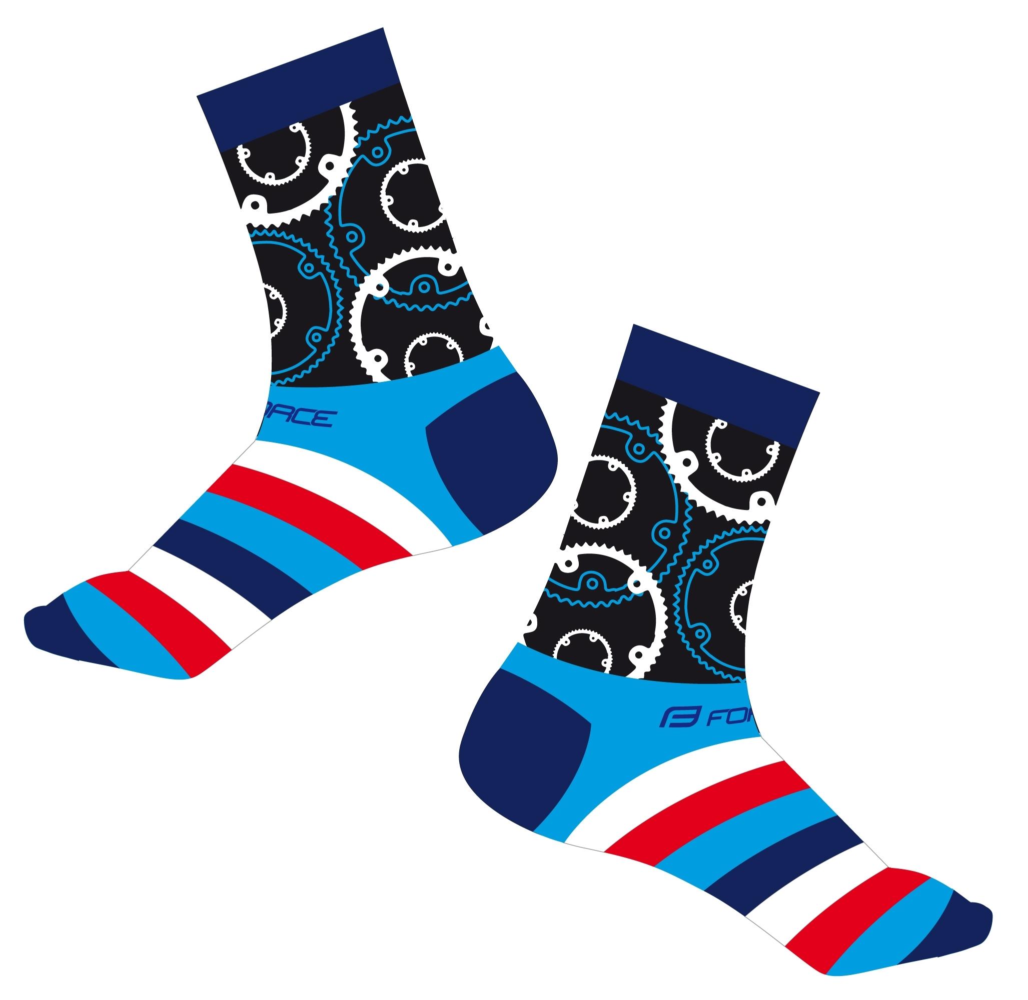 ponožky FORCE SPROCKET, modré S-M/36-41