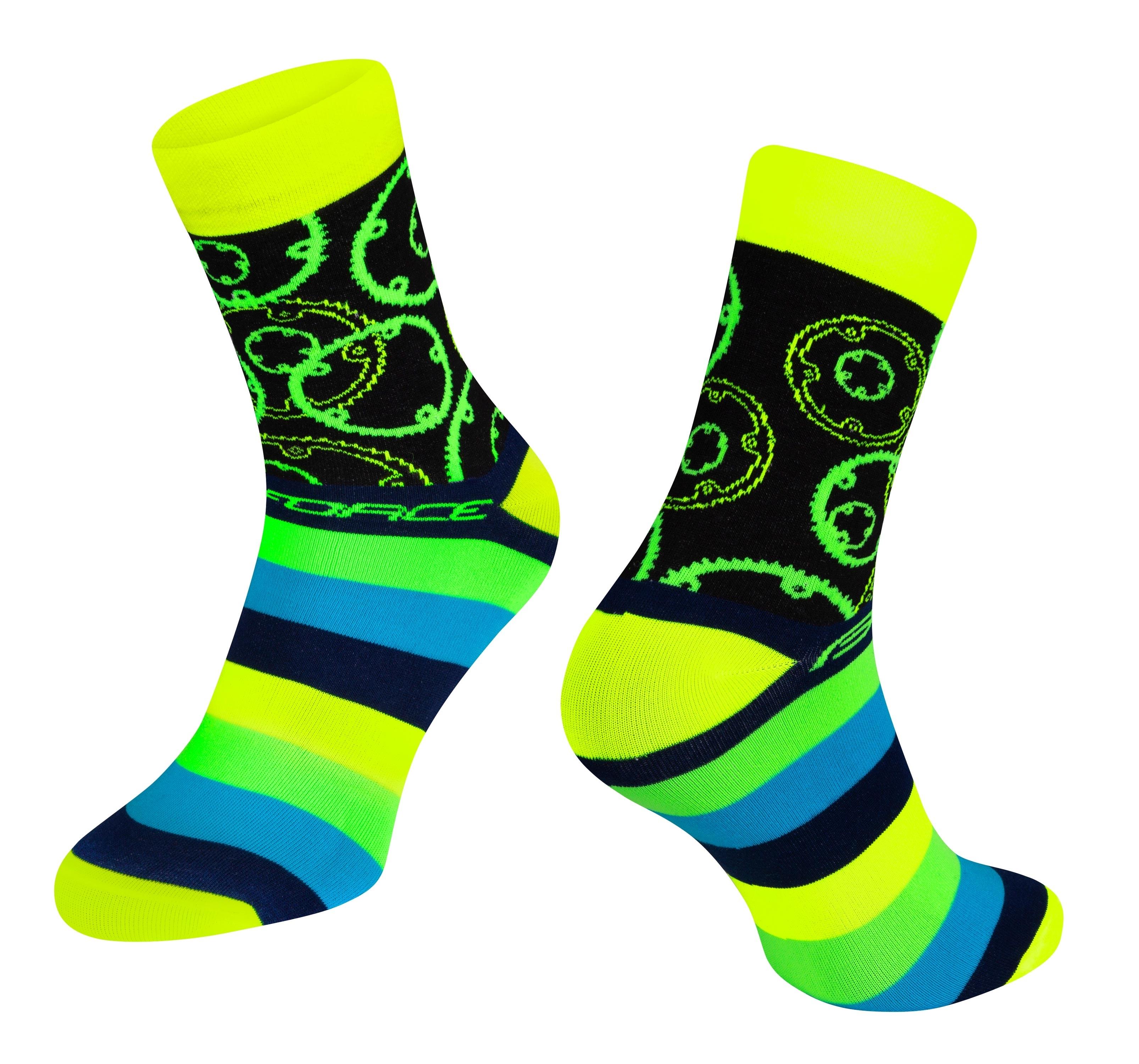 ponožky FORCE SPROCKET, žluté L-XL/42-46