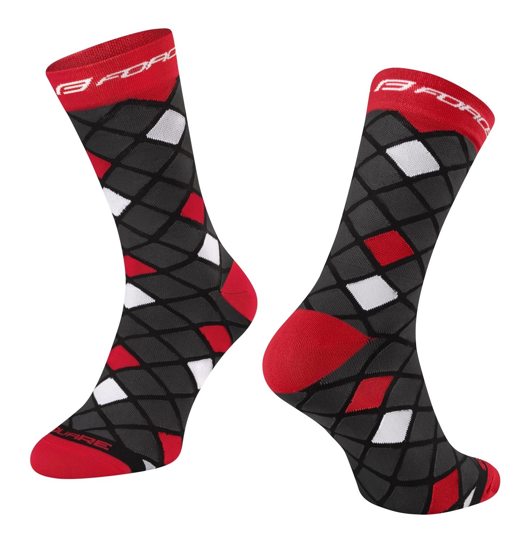 ponožky FORCE SQUARE, černo-červené L-XL/42-46