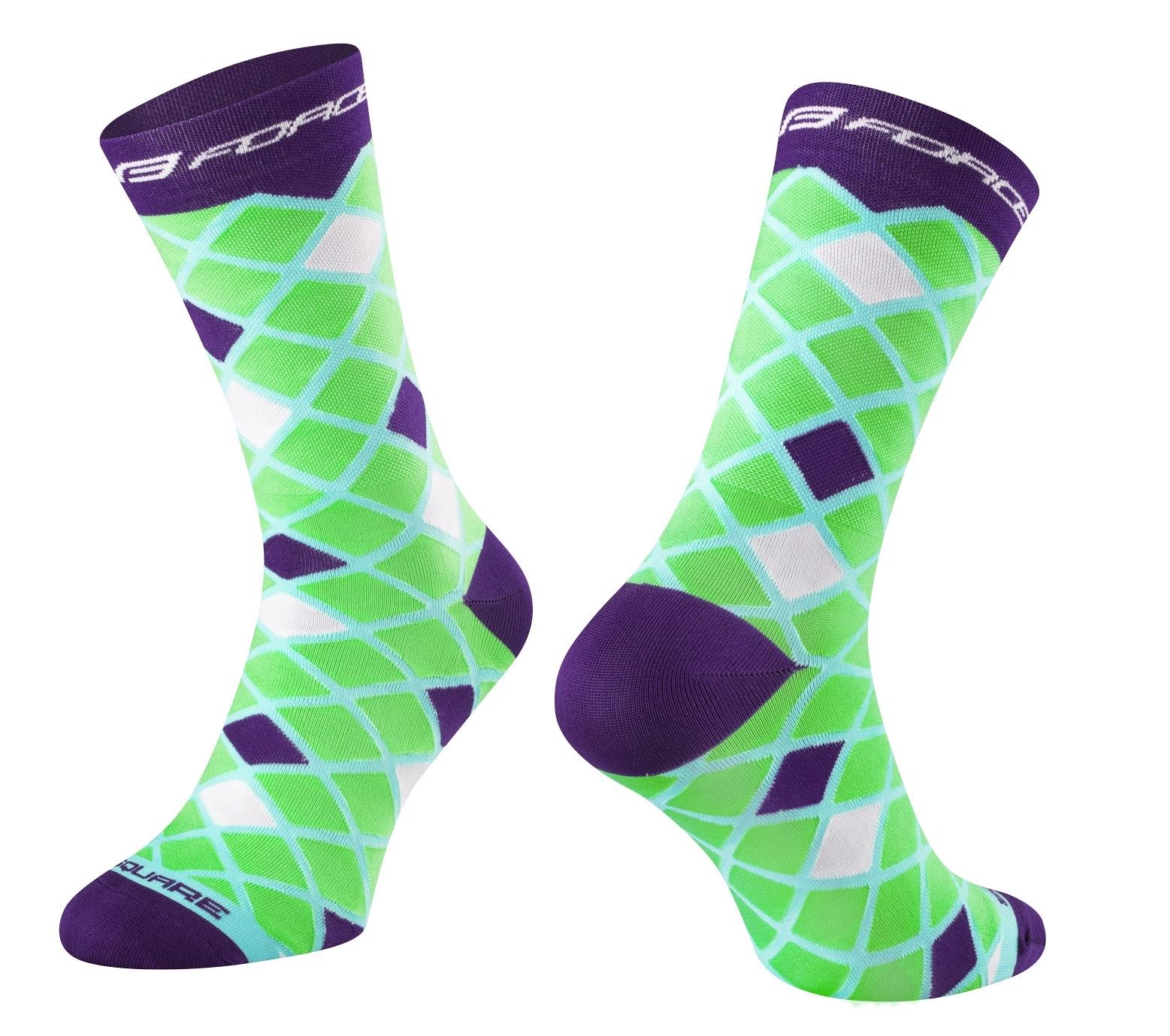 ponožky FORCE SQUARE, zeleno-fialové S-M/36-41