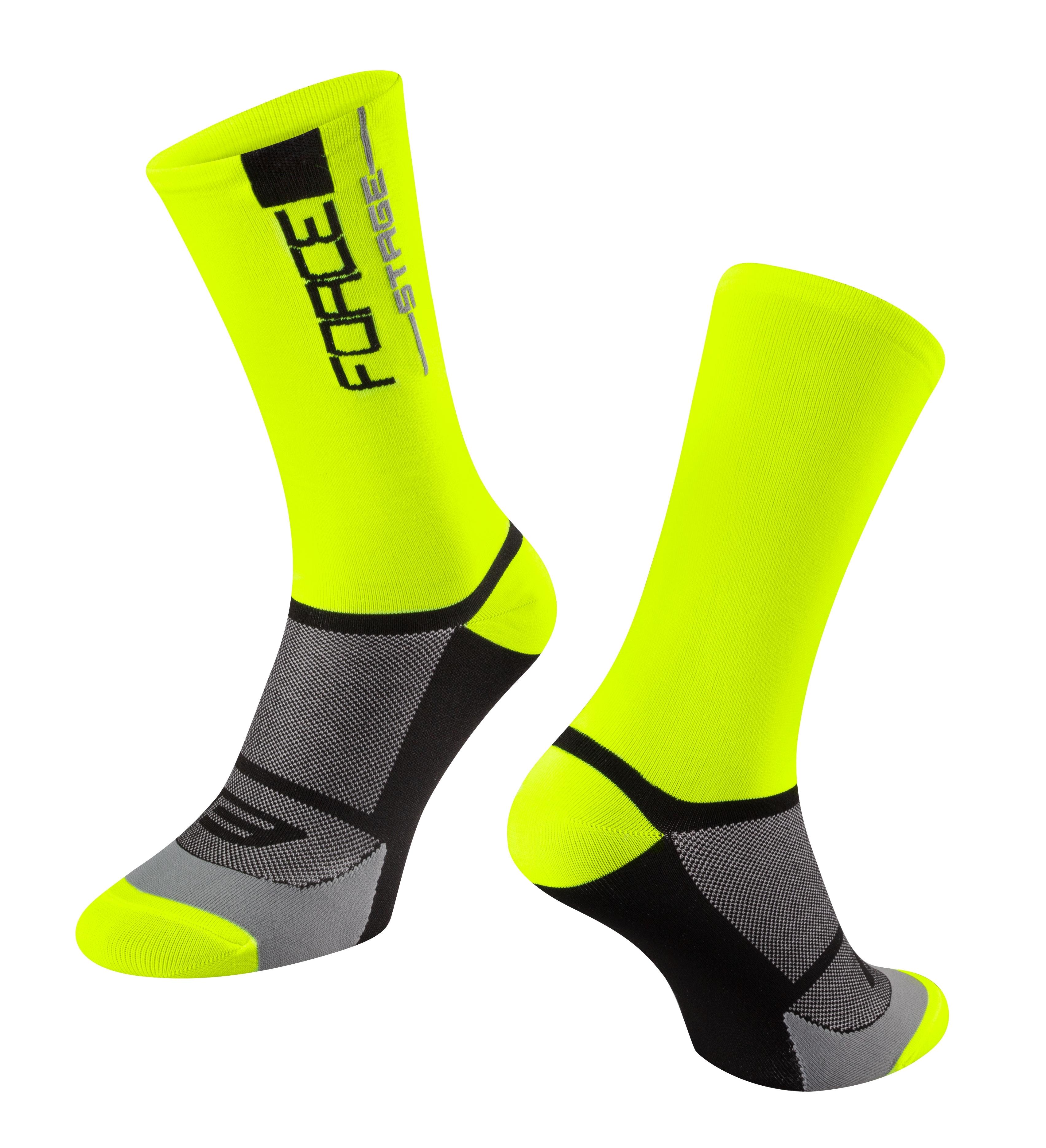 ponožky FORCE STAGE, fluo-černé S-M/36-41