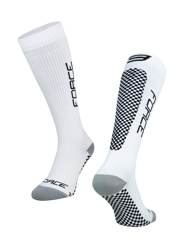 ponožky FORCE TESSERA KOMPRESNÍ, bílé S-M
