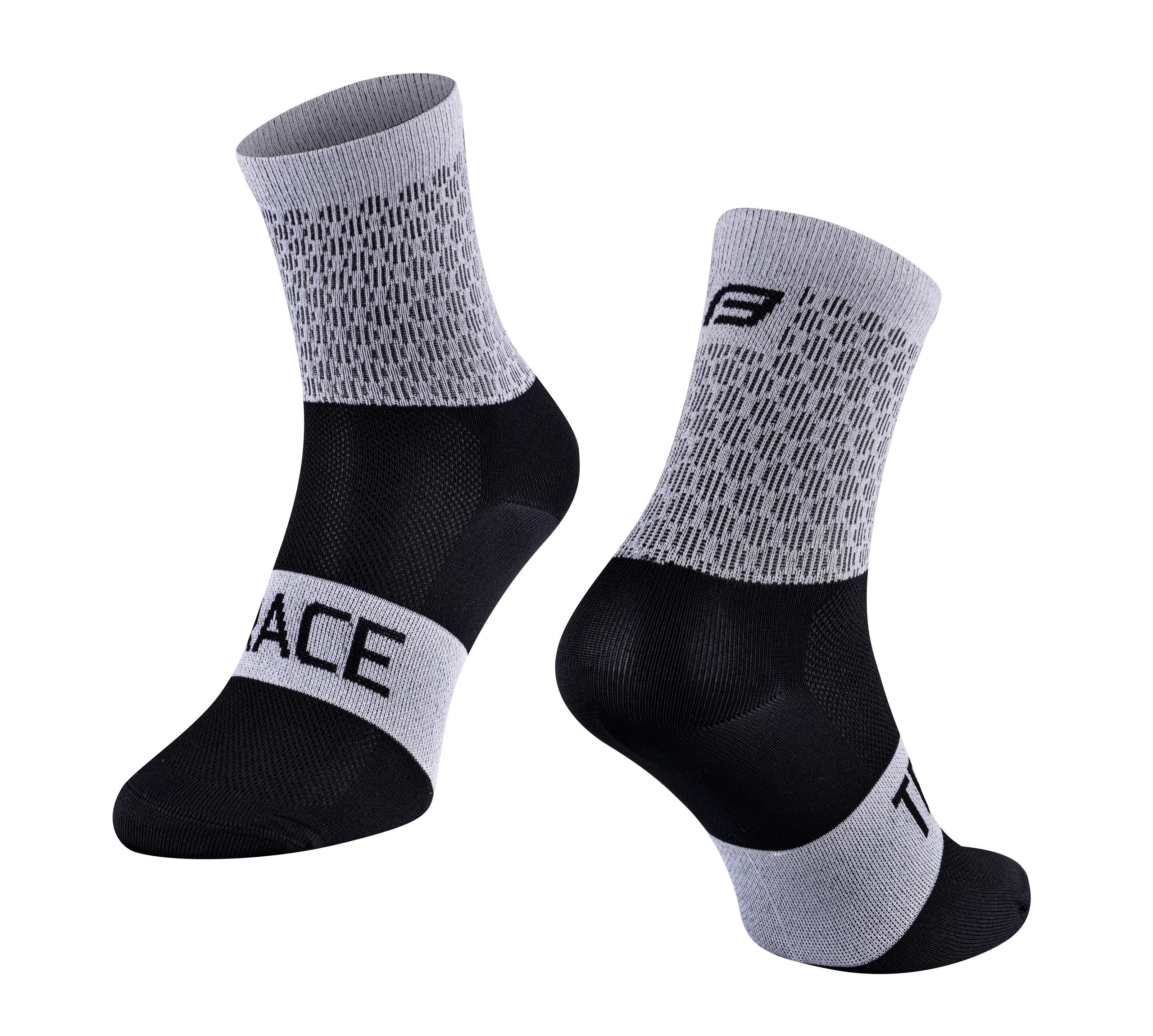 ponožky FORCE TRACE, bílo-černé L-XL/42-47
