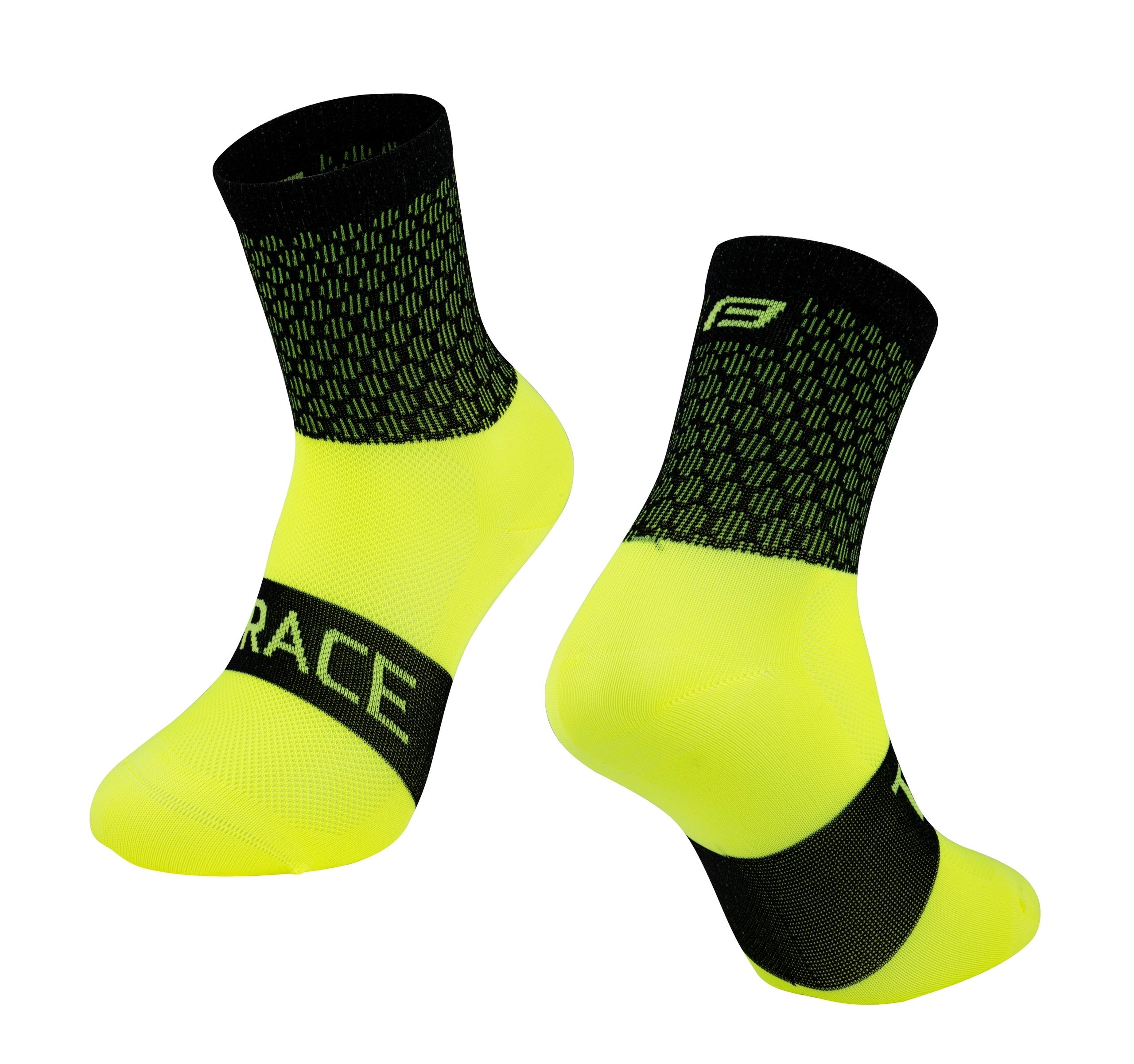 ponožky FORCE TRACE, černo-fluo L-XL/42-47
