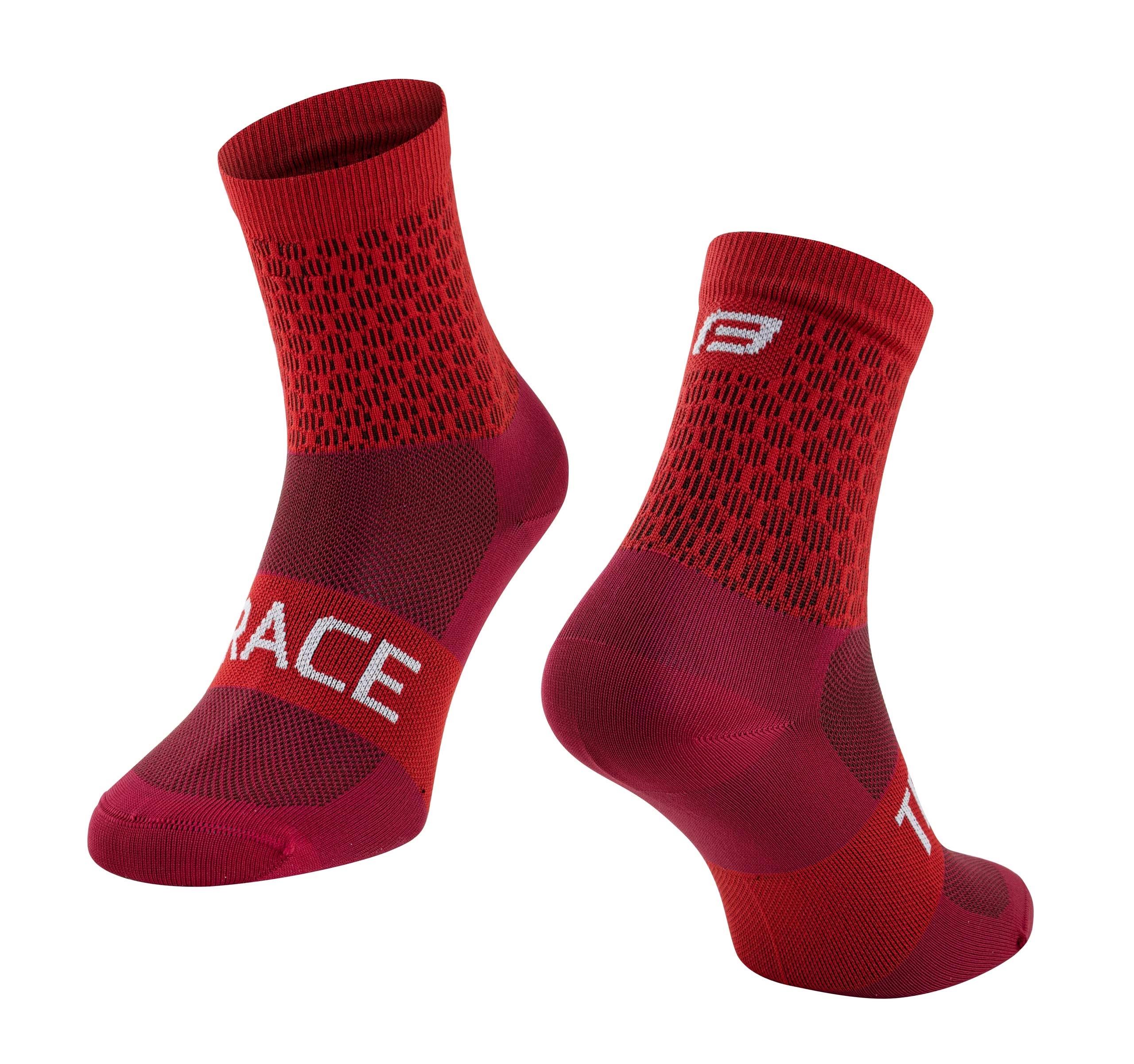 ponožky FORCE TRACE, červené L-XL/42-47