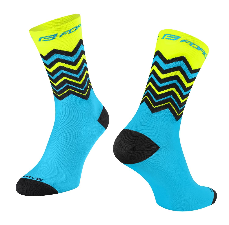 ponožky FORCE WAVE, fluo-modré S-M/36-41