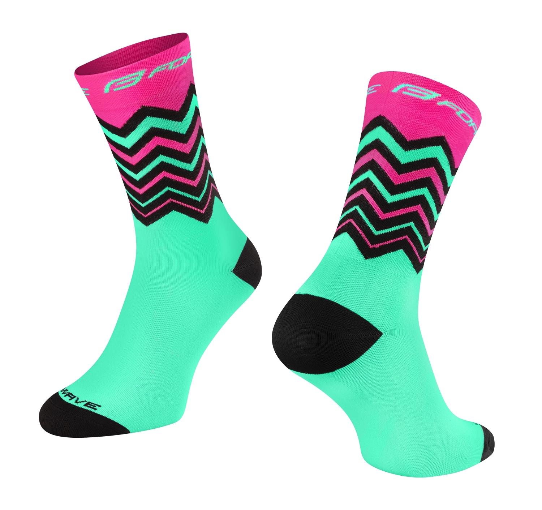 ponožky FORCE WAVE, růžovo-zelené L-XL/42-46