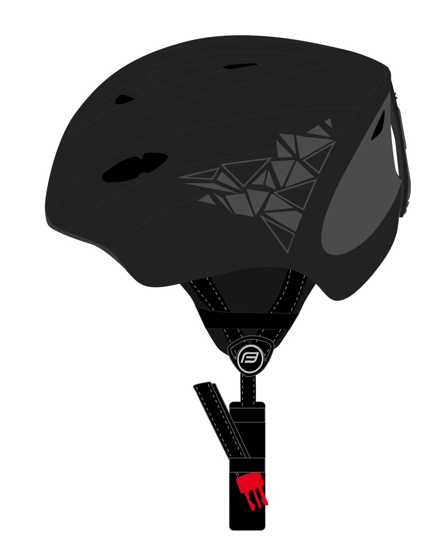 přilba FORCE SKI černá, šedý potisk