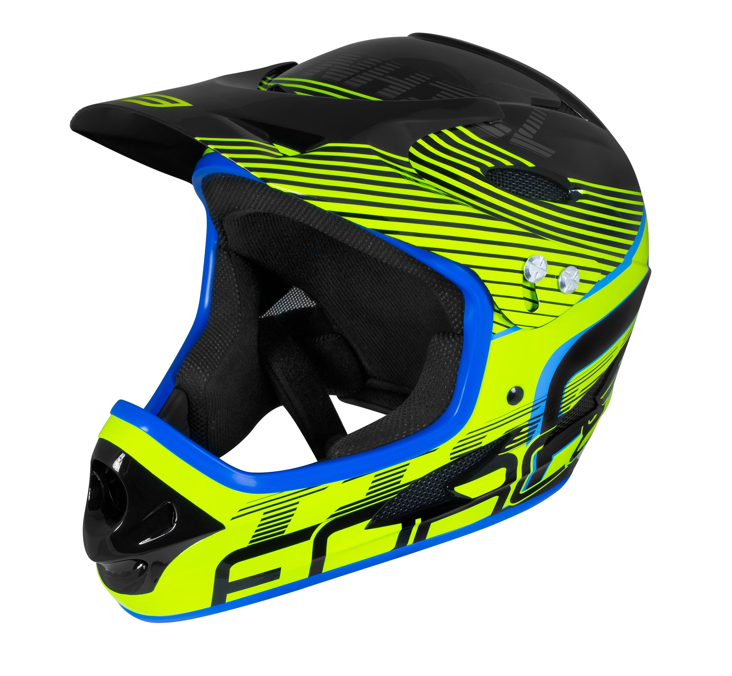 přilba FORCE TIGER downhill, črn-fluo-modrá L - XL