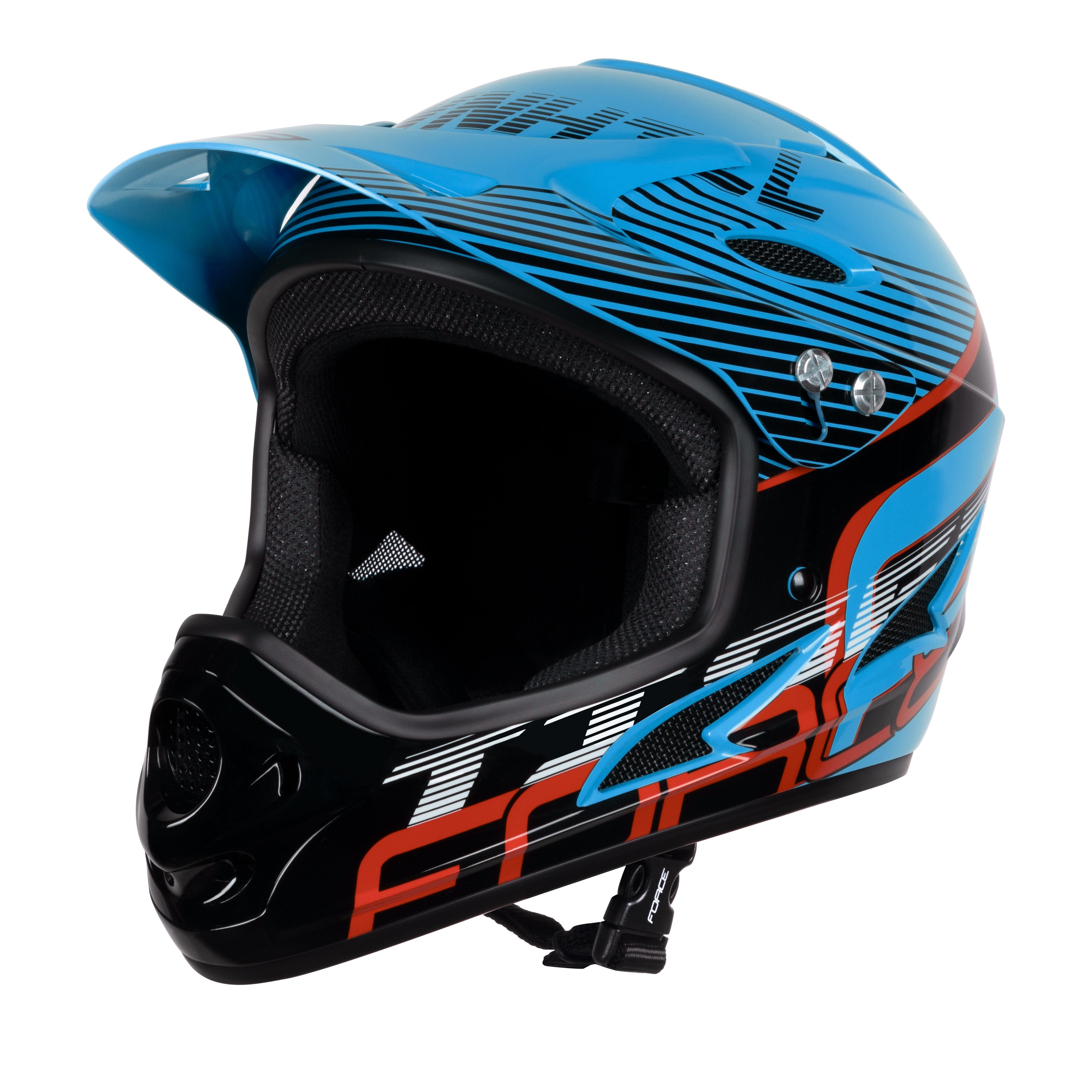 přilba FORCE TIGER downhill,modro-černo-červ. L-XL