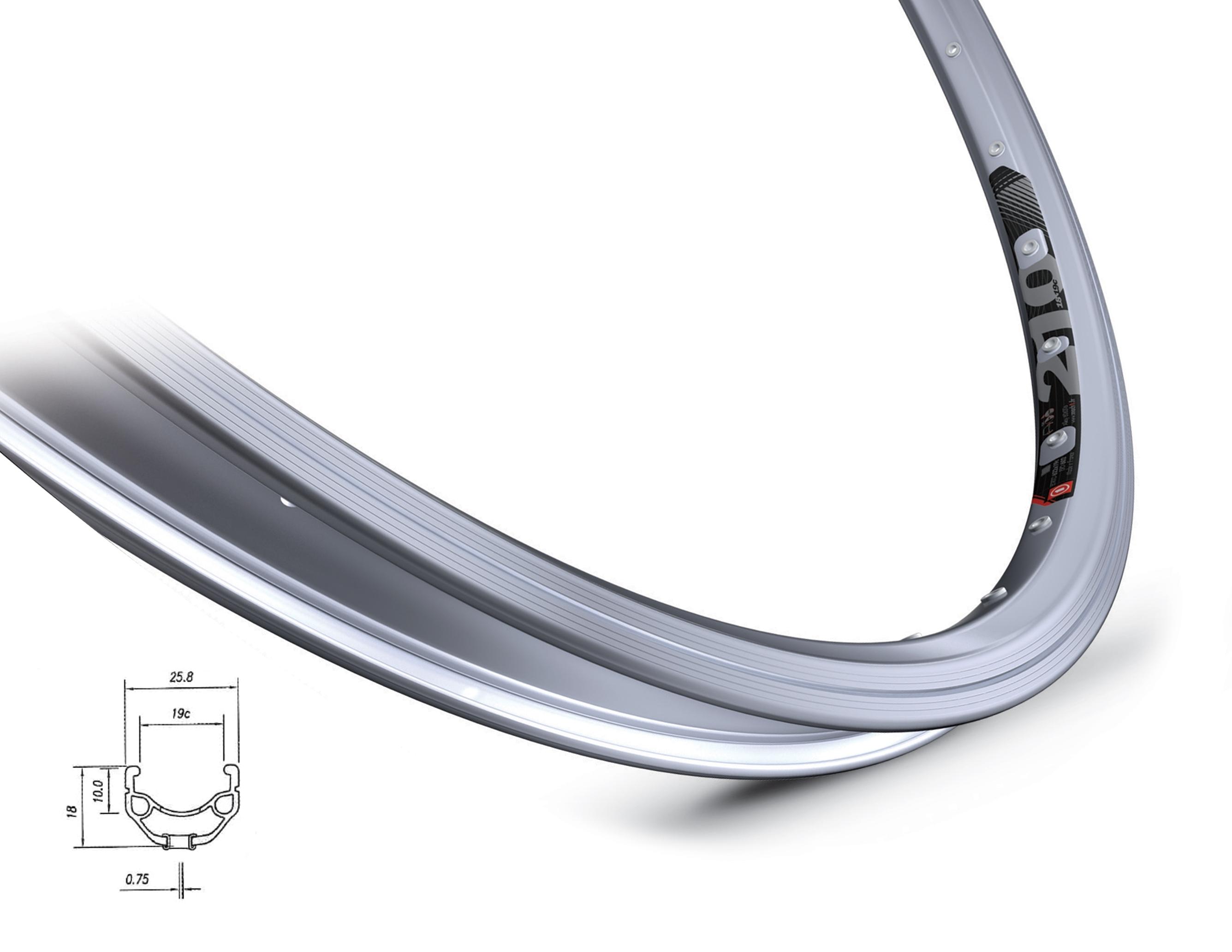ráfek MACH1 210 622 x 19, 36 děr, stříbrný jediný kus!